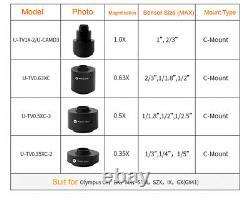1X 0.63X 0.5X 0.35X C-Mount Camera Adapter For Olympus Trinocular Microscope