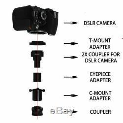2X DSLR Digital Camera to Microscope Adapter Kit, C-Mount Coupler T-Mount