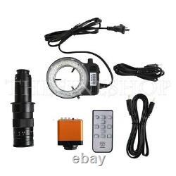 34MP Industrial Microscope Camera Kit HDMI 2K 1080P+180X C-Mount Lens+Ring Light