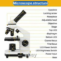Kids Microscope Students Adults with Slide Set Phone Adapter School Laboratory