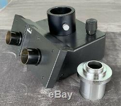 Leitz 512815/20 Trinocular Microscope Head With 543345 Photo Port Camera Adapter