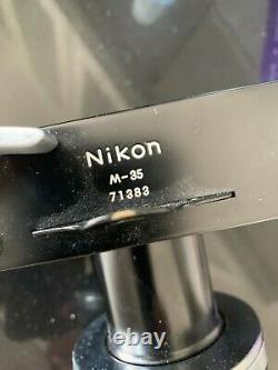 Vintage Nikon M-35 Microscope Camera With Nikon Efm Adapter Used