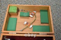 Vintage Olympus Microscope Camera Adapter & 2 Cameras Cable Release in Wood Case